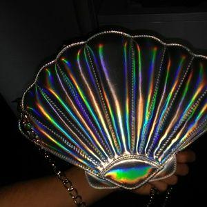 Holographic mermaid sea shell clamshell purse bag